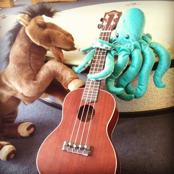 Who do you think would be better at the ukulele? Coco or Mr. Octopus?