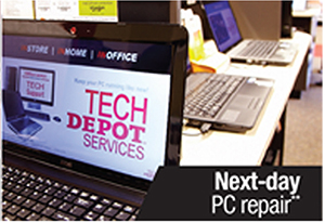 "The main Tech Depot Services web page Titled ""Set Up, Fix, and Get Support for Your Computer at the Tech Depot"" gives up about one quarter of its above-the-fold real estate for very extensive Office Depot full website navigation."