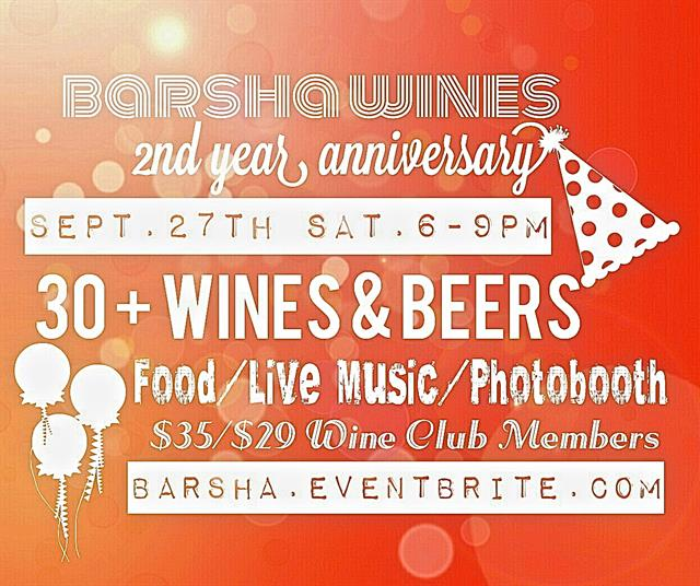 Barsha's 2nd Year Anniversary Sept. 27th 6-9pm!