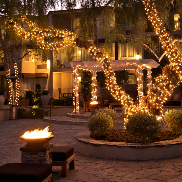 The Belamar Patio at Dusk
