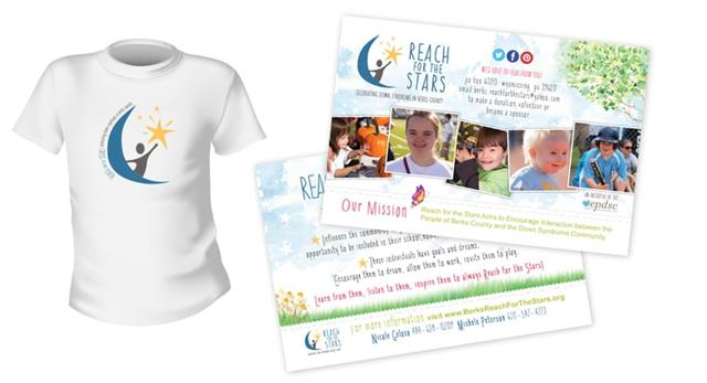 Custom T-shirt Design, Logo Design & Postcard Design For Berks County Reach for the Stars, a non-profit
