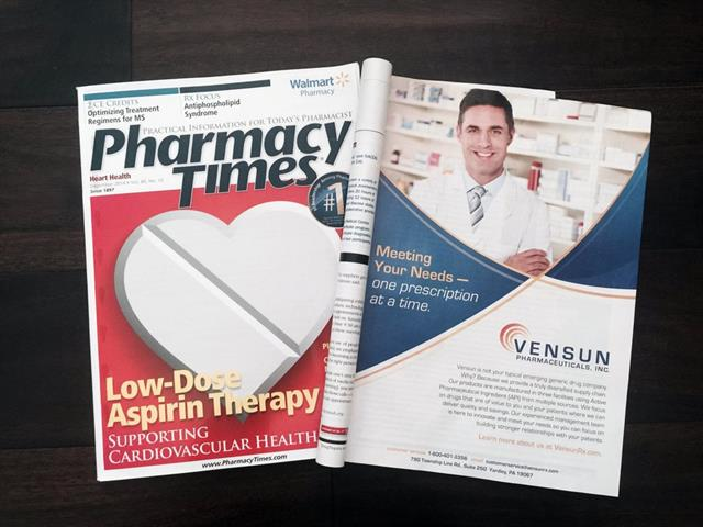 Print Ad for Vensun Pharmaceuticals featured in Pharmacy Times