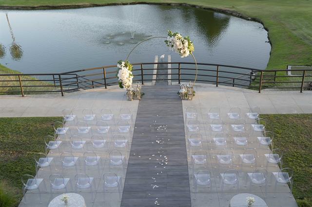 Backyard terrace wedding