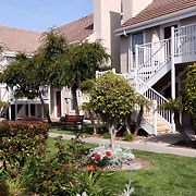 Exterior guest rooms, residential style hotel with 22 buildings spread out over approximately 4.5 acres.
