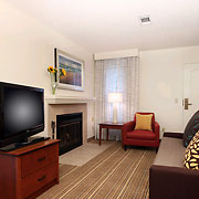 All rooms have seperate living room area with high definiton TVs, some with fireplaces.