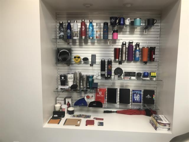 Drinkware & tech showroom items