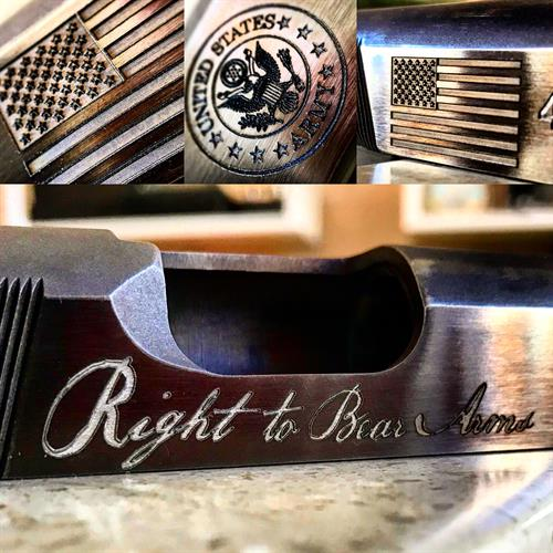 Mack has engraved everything from fine jewelry to golf clubs and firearms.  Here are a few examples.
