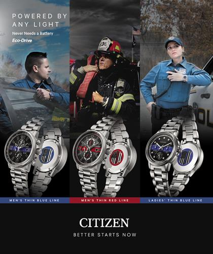 R.M. Johnson & Sons Jewelers is the Roanoke Valley's exclusive retailer of Citizen's Thin Blue Line & Thin Red Line watches, specially-priced for our first responders.