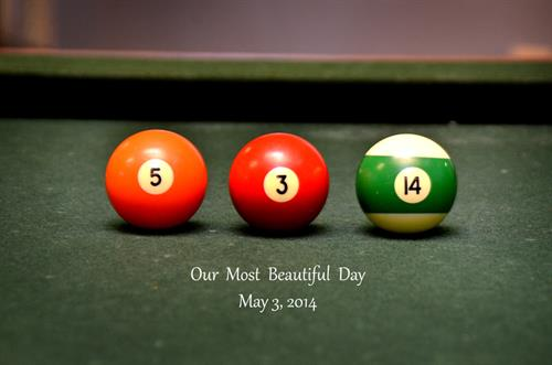 The Groom had a pool table - so we commemorated his wedding day in numbers!
