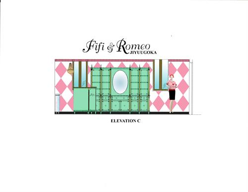 Elevation C for the design of Fifi & Romeo - Tokyo