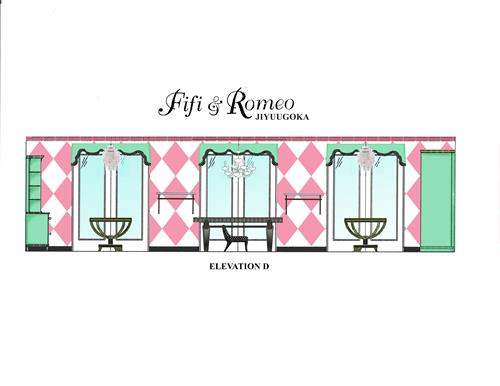 Elevation D for the design of Fifi & Romeo - Tokyo