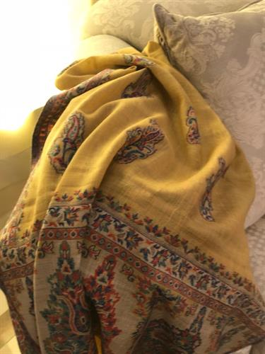 Luxury, woven shawl/throw to add a spot of sunshine to your home!