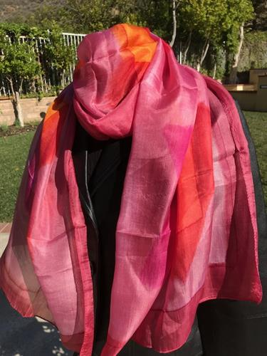 Pretty in Pink!  100% silk, long scarf.  Many more colors!