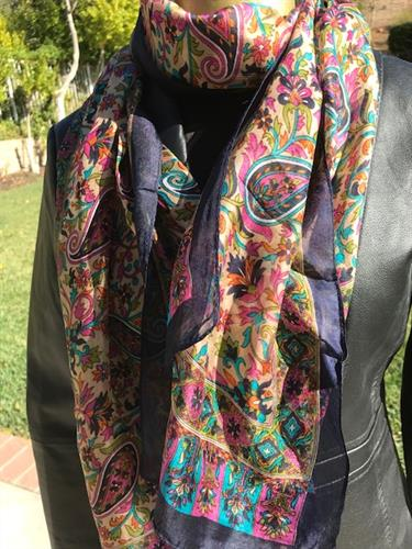 Paisley Paradise, Silk Long Scarf!   Many colors available!