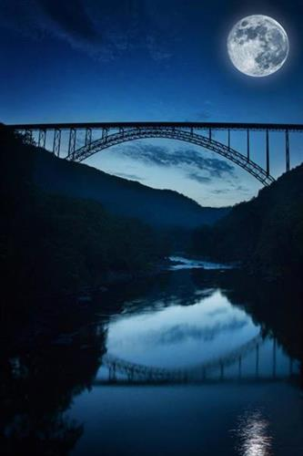 New River Gorge Bridge in the Moonlight by Beth Forrester