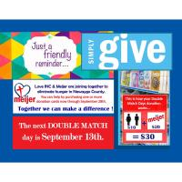 Double Match Day at Meijer for the benefit of Love INC - Newaygo County