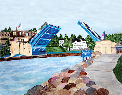 Bridge Up Charlevoix! Painting available as Prints • Note Cards • Magnets