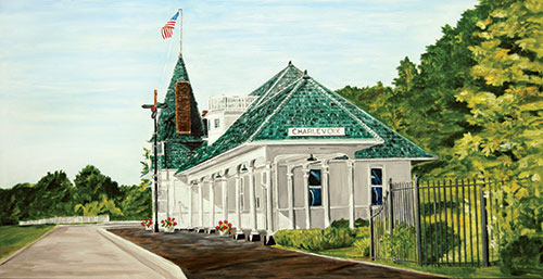 Charlevoix's Historical Train Depot Painting available as Prints • Note Cards • Magnets