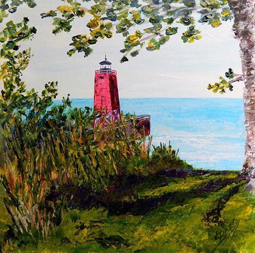 The Charlevoix Lighthouse - North Bluff Painting available as Prints • Note Cards • Magnets