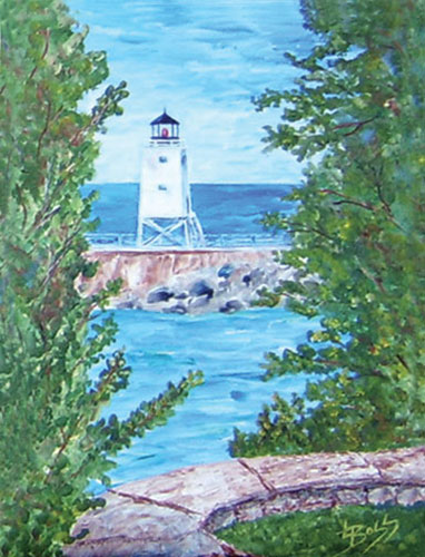 "The Charlevoix Lighthouse ""I"" Like it White! Painting available as Prints • Note Cards • Magnets"