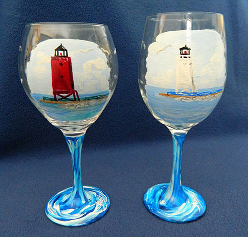 The Charlevoix Lighthouse Debate Wine Glass Set - Red or White... Decide over a glass of wine!