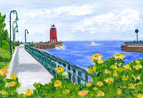 Charlevoix's Pine River Walk Painting available as Prints • Note Cards • Magnets