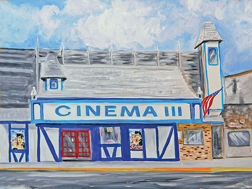 Cinema III Downtown Charlevoix Summer of 1978 Painting available as Prints • Note Cards • Magnets