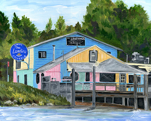 The Landing Restaurant & Marina Classic available as Prints • Note Cards • Magnets