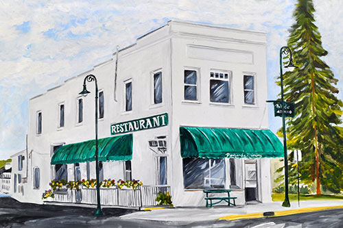 The Parkside Restaurant of Charlevoix Painting available as Prints • Note Cards • Magnets