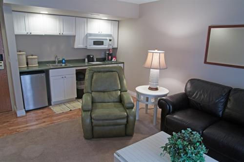 King Suite with Lake View Pet Friendly - Living Area