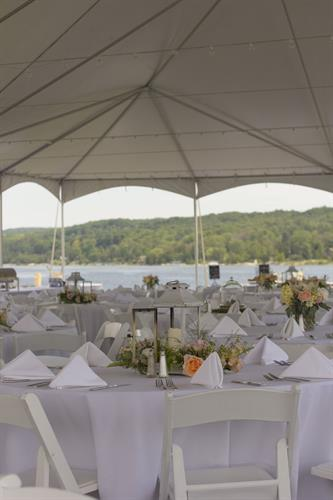 Hold your Event or Reception in our romantic Tent on Lake Charlevoix