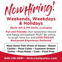 BALLPARK PIZZA SC Hiring ASAP!!!!