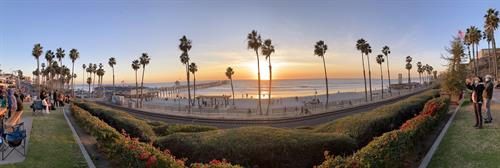 Panorama of the sunset at the San Clemente Pier