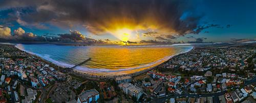 Panorama drone photo of the San Clemente Pier