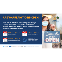 OC Health Care Agency Webinars to help your business THIS WEEK:  Are You Ready to Re-Open?