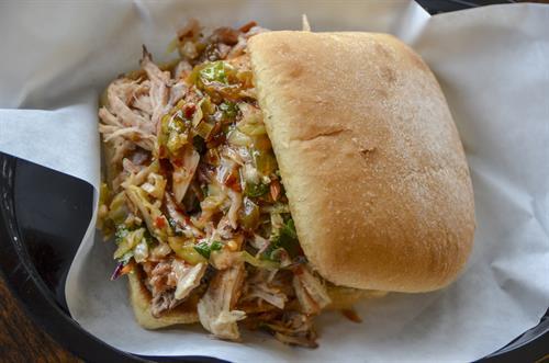 Volcano Pulled Pork Sandwich w/ Jalapeno Lime Slaw