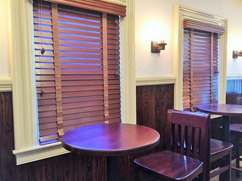 Wood blinds with period tapes blend in beautifully at Patriot's Tavern in Walpole