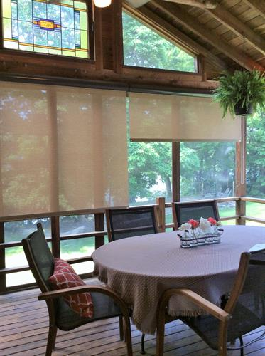 Exterior Solar shades reduce the hot sun while keeping a view!