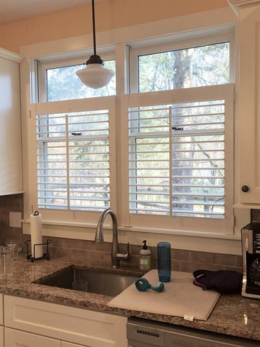 One of our favorite shutter installations- 3/4 height cafe shutters