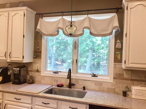 Custom valance completes French country kitchen!