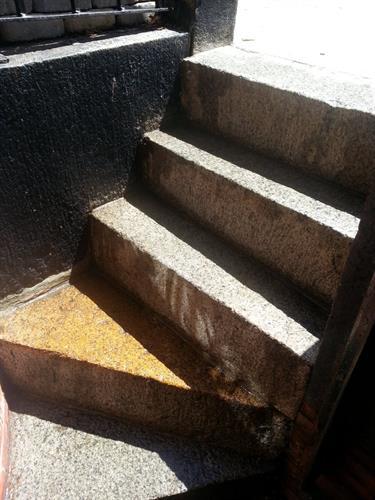 Brownstone steps in Boston, treated so elderly resident wouldnt slip