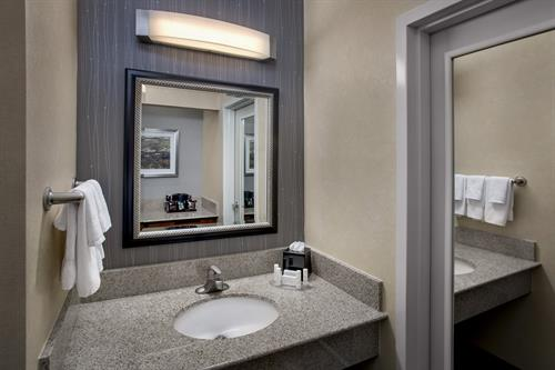 Our guest rooms feature a vanity area that is separate from the bathroom. The added space, with a full closet and mirrors, provide you with the privacy you've asked for when traveling with a companion.