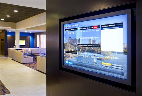 Our signature GoBoard, an interactive, touch screen informational display panel, located in our lobby, allows you to access driving directions, view local weather, find a local restaurant, and catch up on all the latest news.
