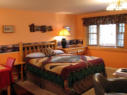 Angler's Nook features queen size bed and bay window, with view of Lake Dubbonet
