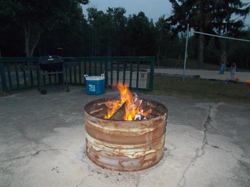 Fire pit near motels