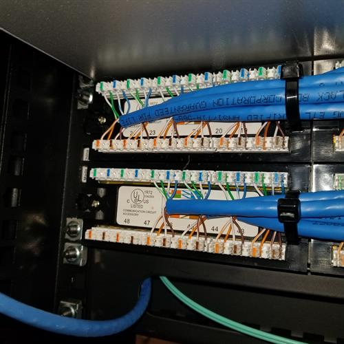 Patch panel cable termination.