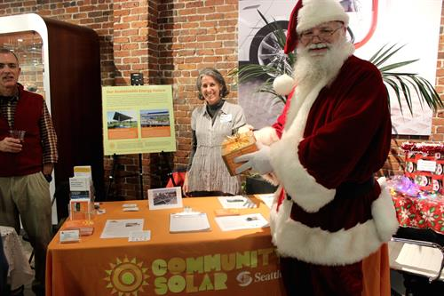 Santa visited our table at a Green Drinks event