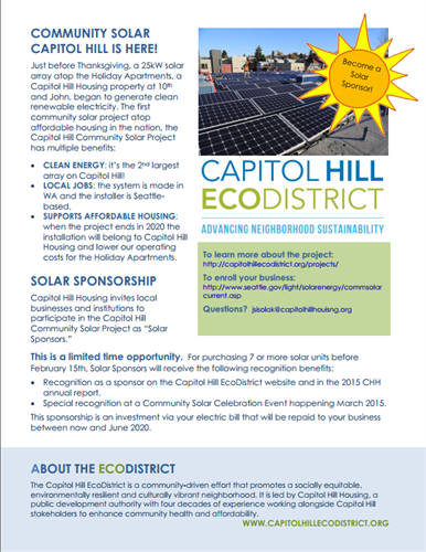 Solar Sponsorship Opportunity: http://capitolhillecodistrict.org/become-a-solar-sponsor/