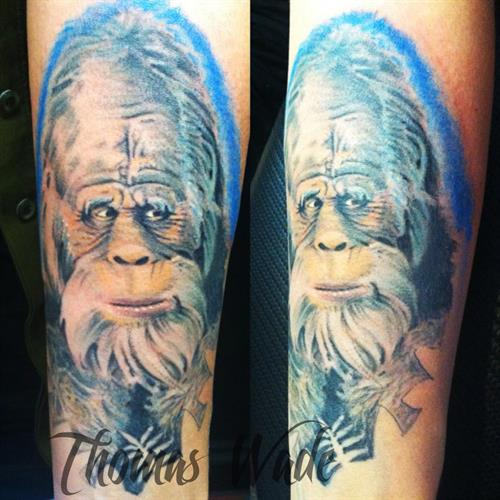 Thomas Wade has been tattooing at Laughing Buddha for many years and is skilled at photo realism and many other styles.