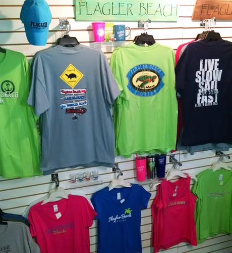 Flagler Beach Gift Shop in Florida carries lots of t-shirts and hats for ladies, men & kids! 386-439-0053